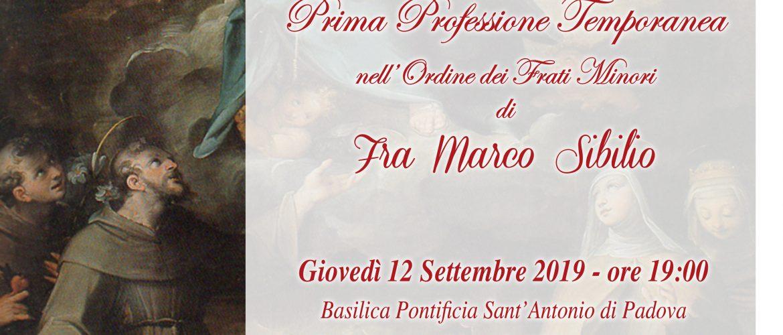 PRIMA PROFESSIONE TEMPORANEA DI FRA MARCO SIBILIO della Parrocchia di S. Maria dell'Agnena a Vitulazio