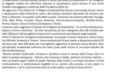 Le strutture ecclesiali per la Protezione Civile,i medici e le persone in quarantena