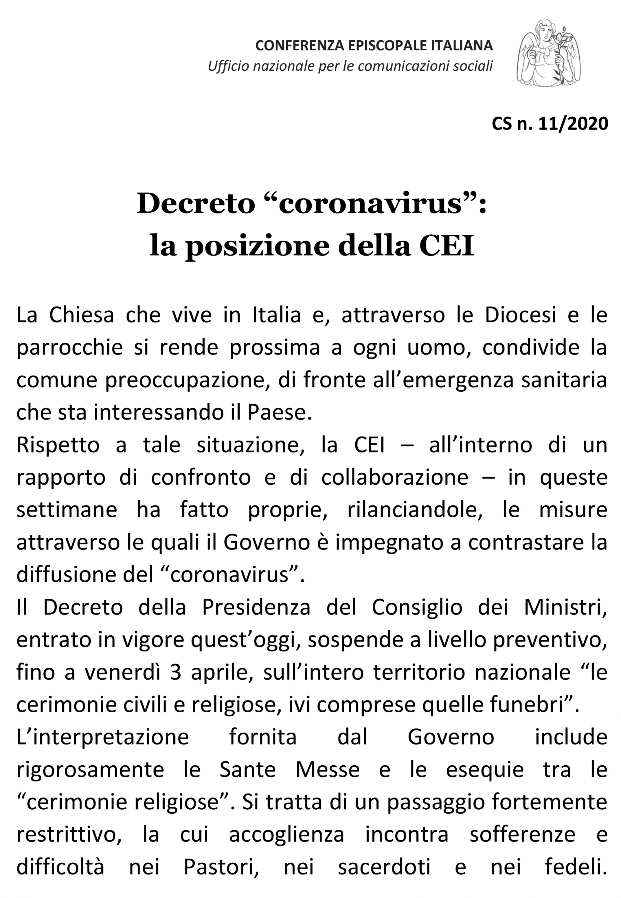 """Decreto """"coronavirus"""": LA POSIZIONE DELLA CEI"""