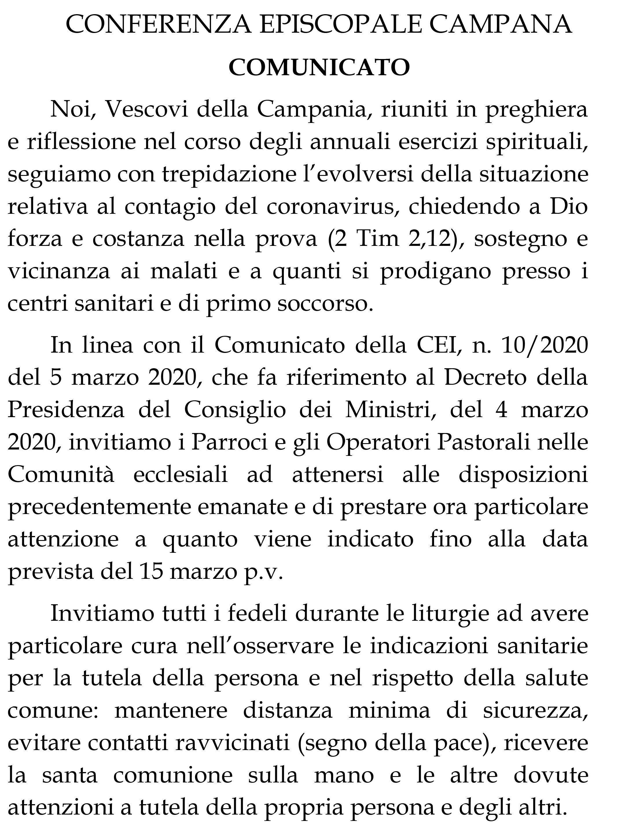 CONFERENZA EPISCOPALE CAMPANA: COMUNICATO