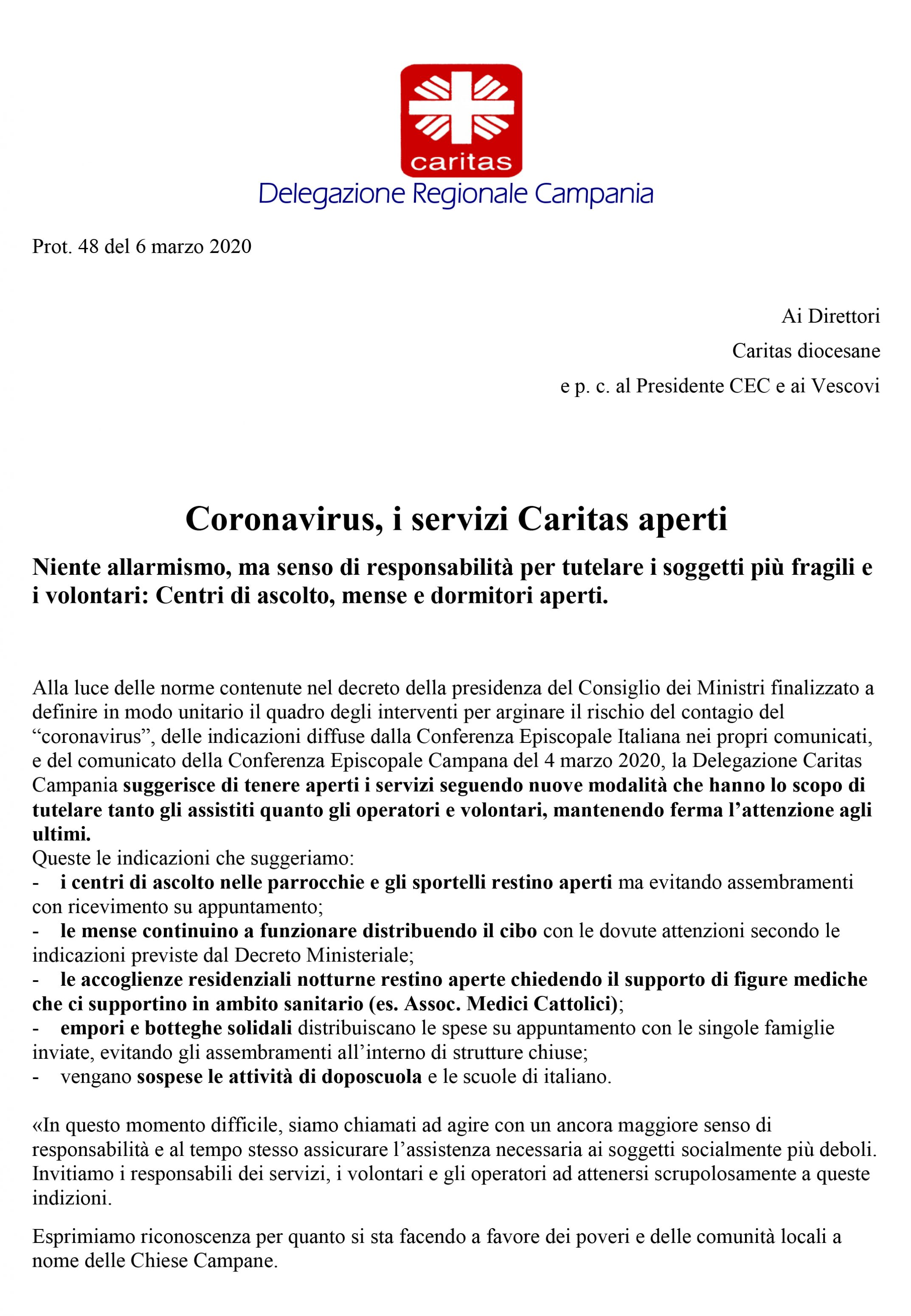 Delegazione Regionale Campania: i servizi Caritas aperti